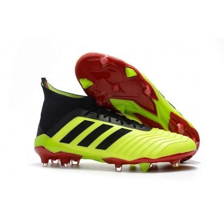 Chaussures de Football Pour Hommes - adidas Predator 18.1 FG Volt Noir Rouge