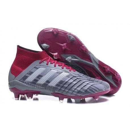 Chaussures de Football Pour Hommes - adidas Predator 18.1 FG Pogba Gris Rouge
