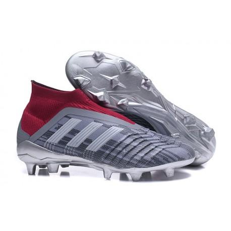 Chaussures de Football 2018 - adidas Predator 18+ FG Pogba Gris Rouge