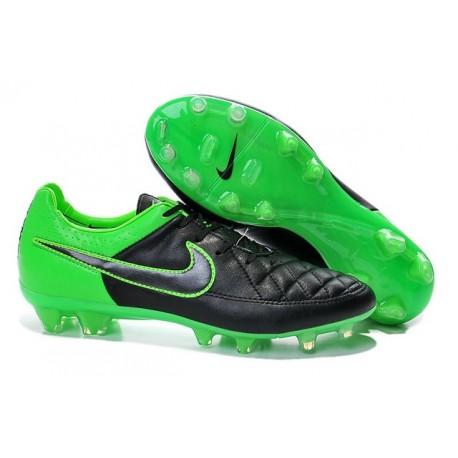 Nike Tiempo Legend V FG terrain sec - Chaussures Pas Cher - Vert Noir