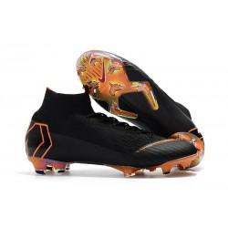 Chaussures football Nike Mercurial Superfly VI 360 Elite FG pour Hommes Noir Orange Total Blanc