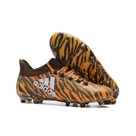 2018 Chaussures de Football - Adidas X 17.1 FG Orange Vif Olive