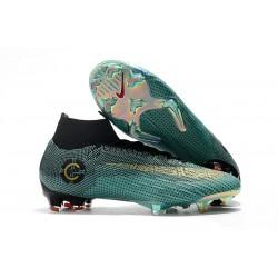 Chaussures football Nike Mercurial Superfly VI Club Ronaldo FG pour Hommes Jade Or Vif Noir