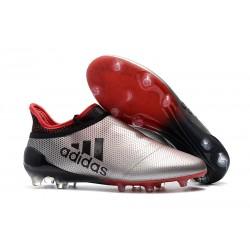 Adidas X 17+ Purespeed FG - Chaussures de Foot pour Hommes Argenté Rouge Noir