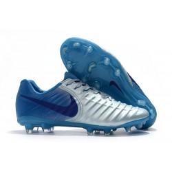 Nouvelles Crampons pour Hommes - Nike Tiempo Legend VII FG Bleu Argent