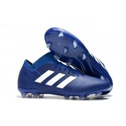 Nouvelles Crampons Foot Adidas Nemeziz Messi 18.1 FG Bleu Blanc
