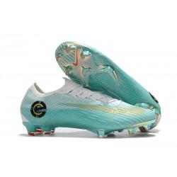 Nouveau Crampons de Football Nike Mercurial Vapor XII Elite FG Métallisé Blanc Or Bleu