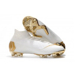 Chaussures de Foot Nike Mercurial Superfly 6 Elite FG - Or Blanc