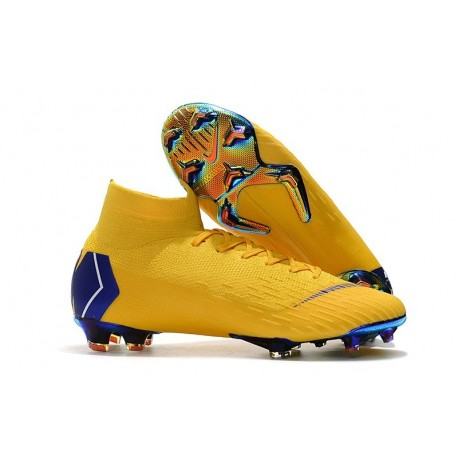 Chaussures football Nike Mercurial Superfly VI 360 Elite FG Bleu Jaune