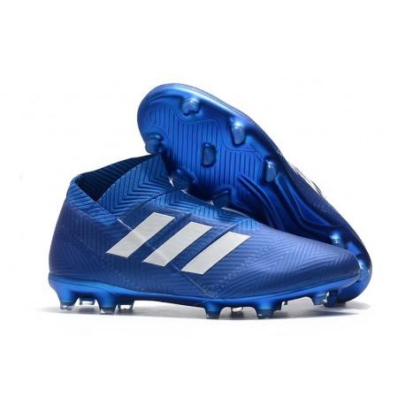 Chaussures de Football Adidas Nemeziz 18+ FG Hommes Bleu Blanc