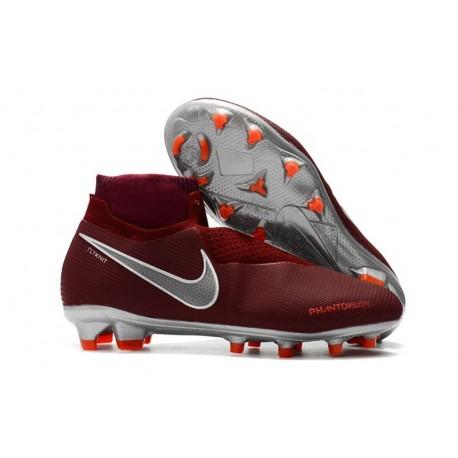 Nouvelles Chaussures de Football Nike Phantom VSN Elite DF FG Vin Rouge Argent