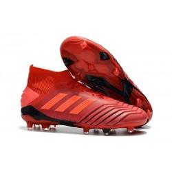 Nouveau Chaussures De Football Adidas Predator 19.1 FG Rouge Solaire Noir
