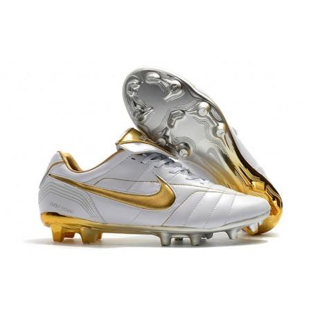 Nouveau Chaussures Football Nike Tiempo Legend VII 10R Elite FG Blanc Or