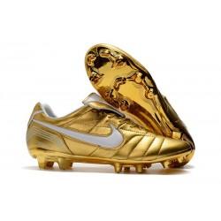Nouveau Chaussures Football Nike Tiempo Legend VII 10R Elite FG Or Blanc