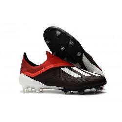 Nouvelles Crampons Foot Pour Hommes - Adidas X 18+ FG Noir Rouge Blanc